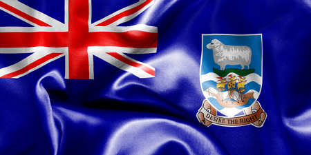 creased: Falkland Islands flag texture creased and crumpled up with light and shadows