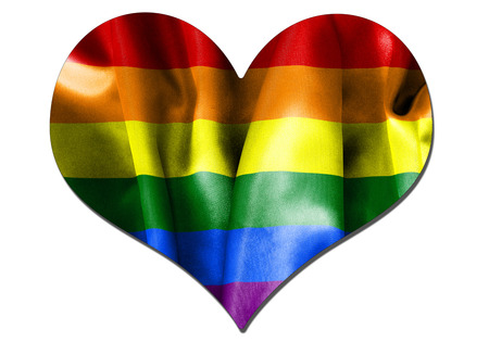 bisexual: Lesbian gay bisexual transgender love heart flag on an isolated white background with a clipping path for with and without drop shadow
