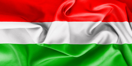 creased: Hungary flag texture creased and crumpled up with light and shadows