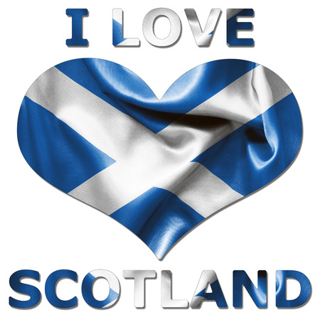 scrunch: I love Scotland with heart shaped Scottish flag texture on an isolated white background with a clipping path for both with and without the shadow