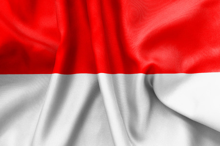 creased: Indonesia flag texture creased and crumpled up with light and shadows Stock Photo