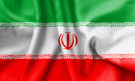 scrunch: Iran flag texture creased and crumpled up with light and shadows