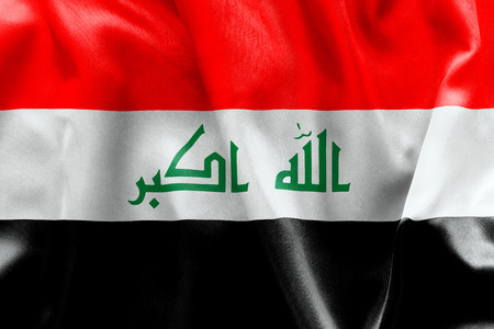 crease: Iraq flag texture creased and crumpled up with light and shadows