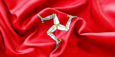 creased: Isle of Man flag texture creased and crumpled up with light and shadows