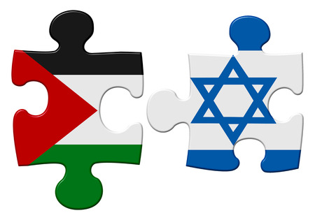 reconciliation: Israel and Palestine flag puzzle with the pieces separated on an isolated white background with a clipping path