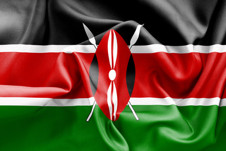 creased: Kenya flag texture creased and crumpled up with light and shadows