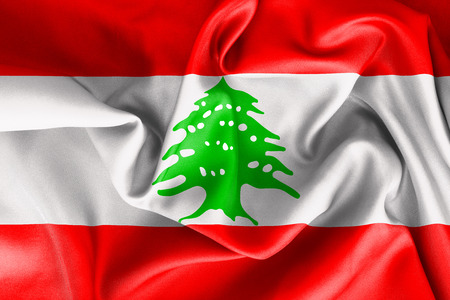lebanese: Lebanese flag texture creased and crumpled up with light and shadows