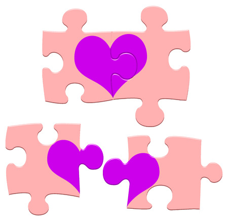 Jigsaw puzzle hearts showing love fitting together and also not fitting on an isolated white background with a clipping path