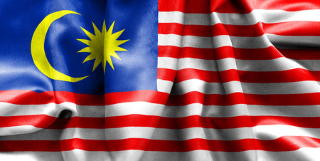 Malaysian flag texture creased and crumpled up