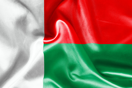 madagascar: Madagascar flag texture crumpled up