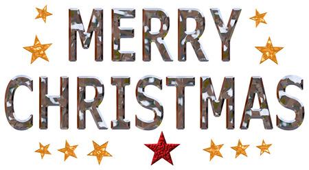 letras cromadas: Feliz Navidad en letras cromadas con estrellas doradas sobre un fondo blanco aislado