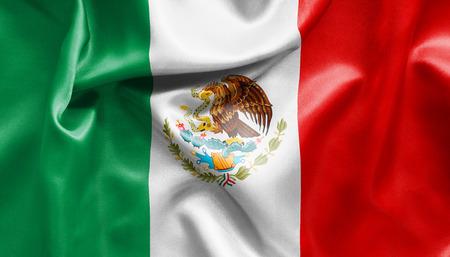 drapeau mexicain: Mexicaine texture drapeau pliss� et froiss� avec la lumi�re et les ombres