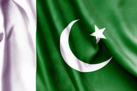 flag of pakistan: Pakistan flag texture crumpled up Stock Photo