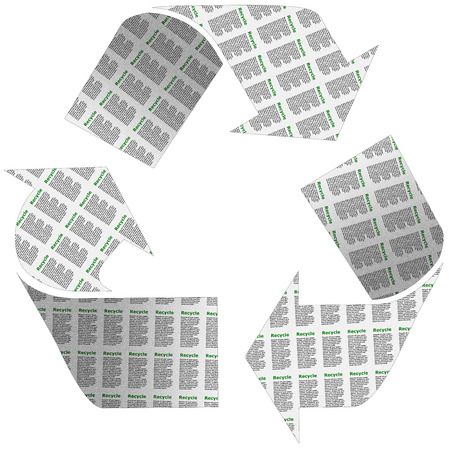 newspaper texture: Recycle symbol with a newspaper texture on an isolated white background with a clipping path