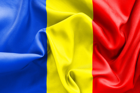 romanian: Romanian flag texture crumpled up