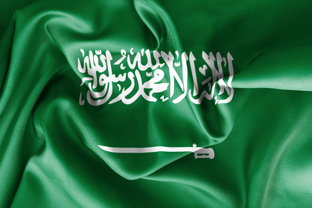 scrunch: Saudi Arabia flag texture creased and crumpled up with light and shadows Stock Photo