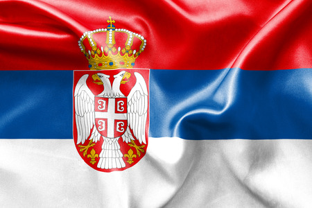 double headed eagle: Serbia flag texture creased and crumpled up with light and shadows