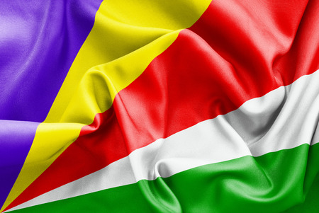 scrunch: Seychelles flag texture crumpled up Stock Photo