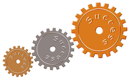 path to success: Success cogs with chrome effect on an isolated white background with a clipping path