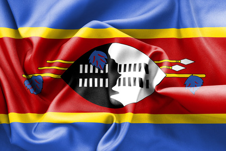 scrunch: Swaziland flag texture creased and crumpled up with light and shadows Stock Photo