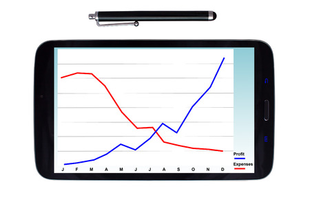 stylus: Tablet with a stylus displaying yearly profit growth graph on an isolated white background
