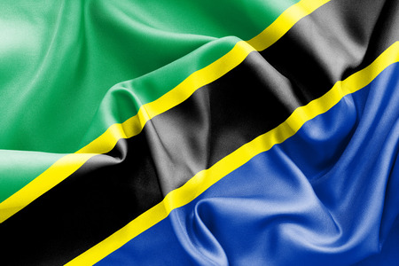 scrunch: Tanzania flag texture creased and crumpled up with light and shadows