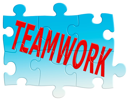 jointly: Teamwork jigsaw puzzle with all pieces of the team fitting together on an isolated white background with a clipping path