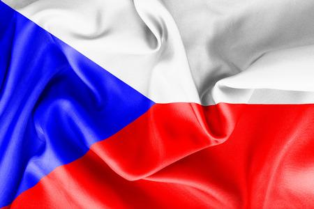 czech: The Czech Republic flag texture crumpled up Stock Photo