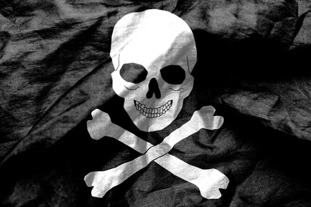 scrunch: Skull and crossbones flag texture crumpled up