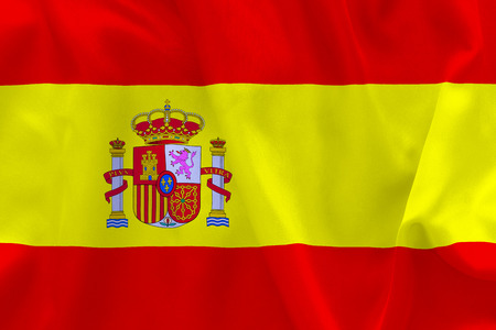 creased: Spanish flag texture creased and crumpled up with light and shadows
