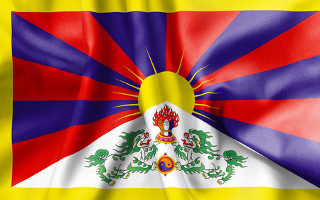 tibet: Tibet flag texture creased and crumpled up with light and shadows
