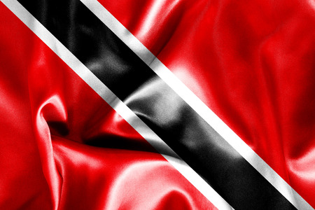 trinidadian: Trinidad and Tobago flag texture creased and crumpled up with light and shadows