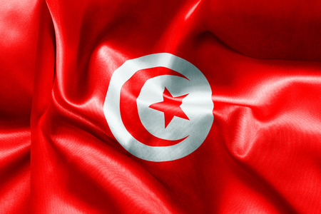 creased: Tunisia flag texture creased and crumpled up with light and shadows Stock Photo