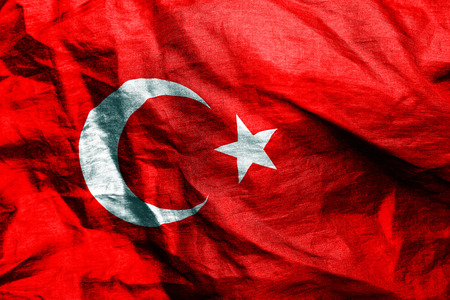 scrunch: Turkish flag texture crumpled up Stock Photo