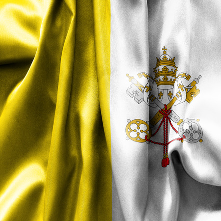creased: Vatican City flag texture creased and crumpled up with light and shadows Stock Photo