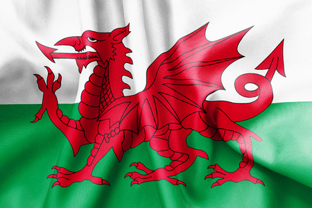 welsh flag: bandiera gallese tessitura accartocci�