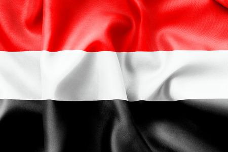 crease: Yemen flag texture crumpled up Stock Photo
