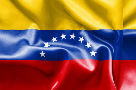 scrunch: Venezuela flag texture creased and crumpled up with light and shadows Stock Photo