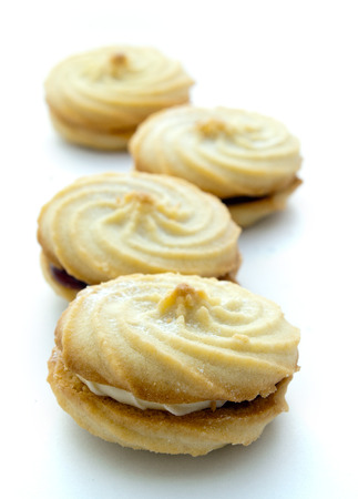 viennese: Viennese whirls with a shallow depth of field against a white background Stock Photo