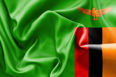 zambian: Zambia flag texture creased and crumpled up with light and shadows Stock Photo