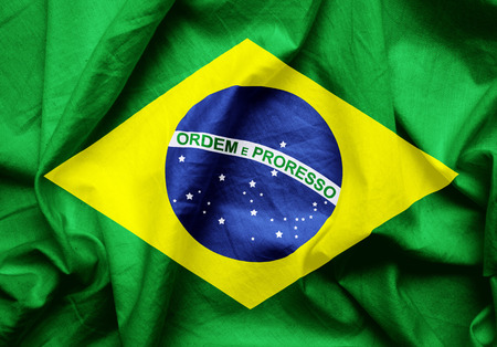brazilian flag: Brazilian flag texture crumpled up. Stock Photo