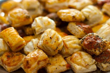 savoury: Savoury Pastry Buffet Selection of Mini Pastries Stock Photo