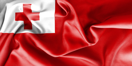 creased: Tonga flag texture creased and crumpled up with light and shadows Stock Photo