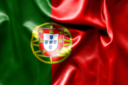 creased: Portugal flag texture creased and crumpled up with light and shadows Stock Photo