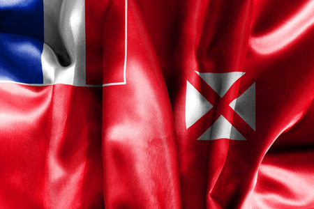 creased: Wallis and Futuna Flag creased and crumpled with light and shadows Stock Photo