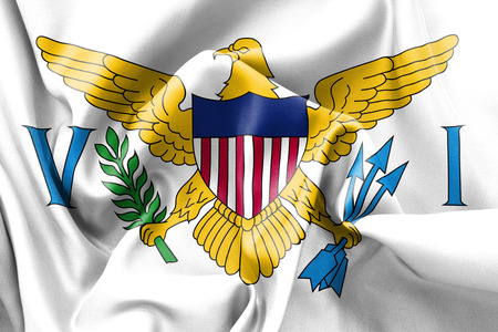 creased: United States Virgin Islands  flag texture creased and crumpled up with light and shadows