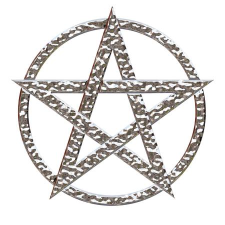 Estrella de cinco puntas estrella de cinco puntas con un efecto de cromo metálico martillado en un fondo blanco aislado con un trazado de recorte Foto de archivo - 45688241