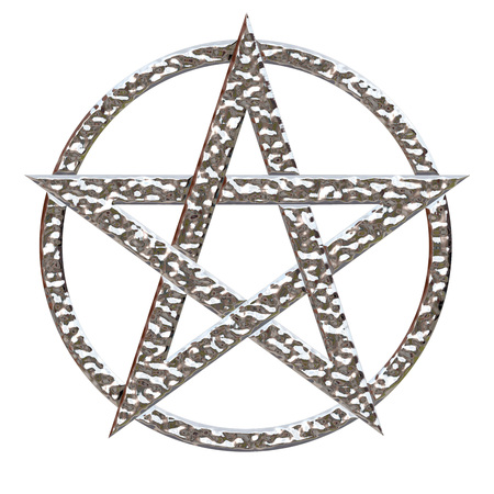 star path: Pentagram five pointed star with a hammered chrome metallic effect on an isolated white background with a clipping path