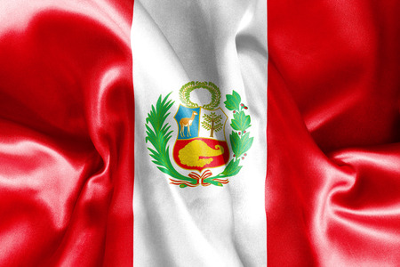republic of peru: Peru flag texture creased and crumpled up with light and shadows Stock Photo