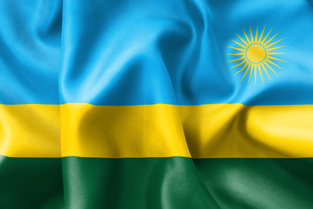creased: Rwanda flag texture creased and crumpled up with light and shadows Stock Photo